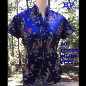 Tops - Oriental silk mandarin button front shirt,HP